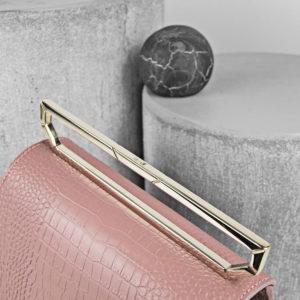 Geanta roz pudrat din piele naturala cu presaj croco Maestoso Dusty Pink Croco Renzo Bag