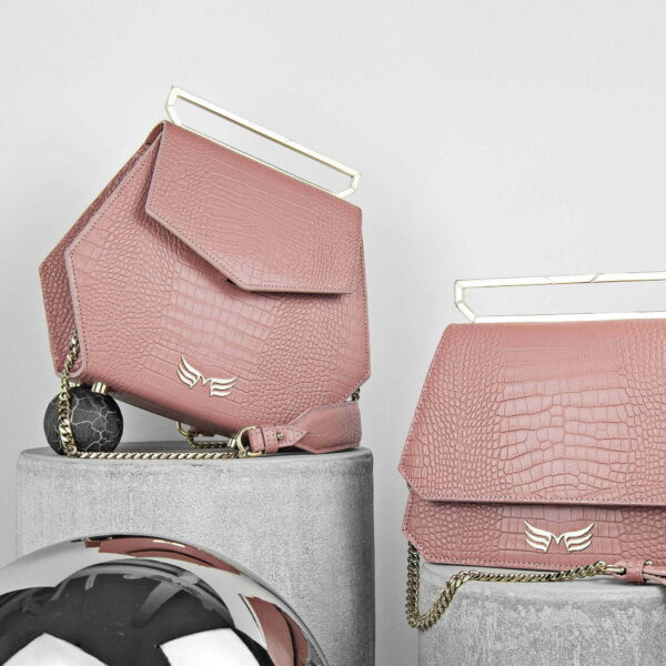 Maestoso Dusty Pink Croco Renzo Leather Bag
