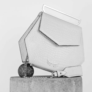 Maestoso White Croco Renzo Leather Bag