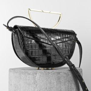 Maestoso Black Croco Leather The Muse Bag