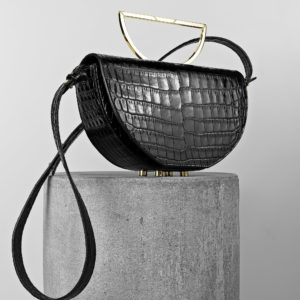Maestoso Black Croco Leather The Muse Bag
