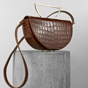 Geanta din piele naturala maro croco Maestoso Brown Croco The Muse Bag