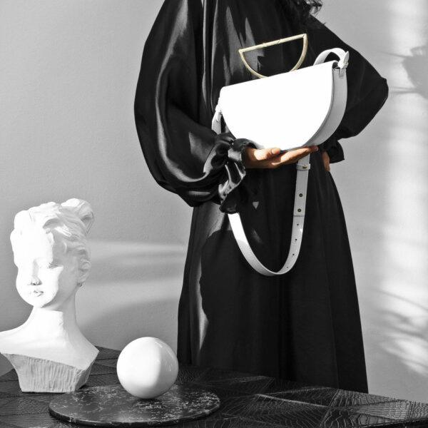 Geanta alba din piele naturala Maestoso White The Muse Bag