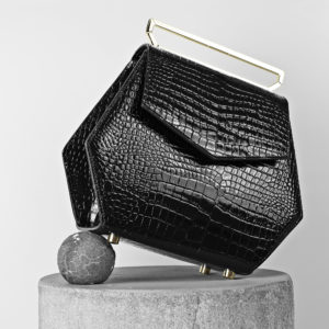 Maestoso Black Croco Renzo Leather Bag