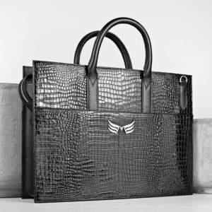 Geanta office din piele naturala neagra Maestoso Black Croco Briefcase