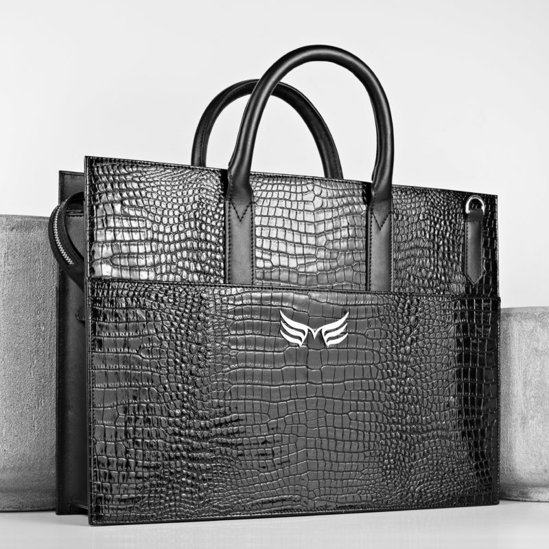 Maestoso Black Croco Briefcase
