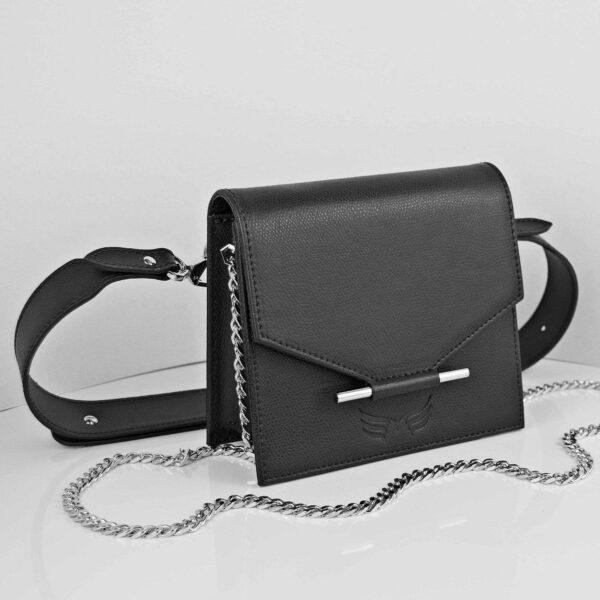 Maestoso Black Mini + Waist Leather Bag