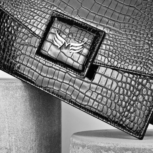 Maestoso Black Croco Dali Leather Bag