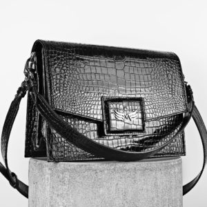 Maestoso Black Croco Dali Leather Bag