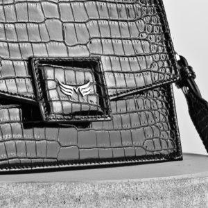 Maestoso Black Croco Mini Dali Leather Bag