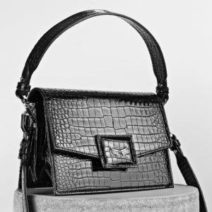 Maestoso Black Croco Mini Dali Leather Bag