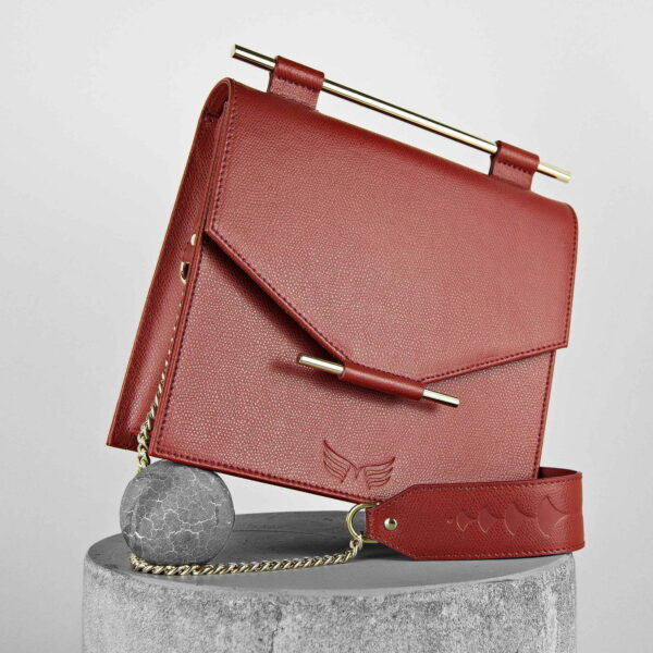 Maestoso Dark Red Square Leather Bag