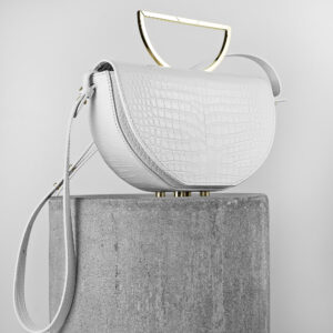 Geanta din piele naturala alb croco Maestoso White Croco The Muse Bag