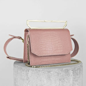 Maestoso Dusty Pink Croco Neri Leather Bag