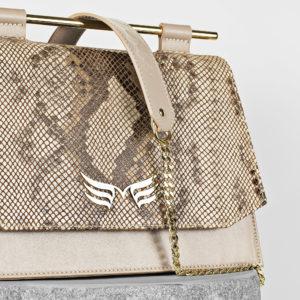 Maestoso Nude & Snake Skylark Queen Leather Bag