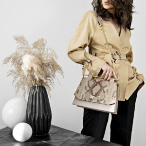 Maestoso Nude & Snake Skylark Queen Leather Bag