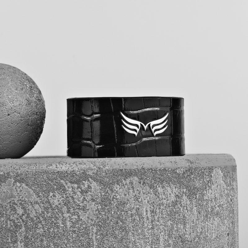 Maestoso Wings Bracelet Black Croco Leather