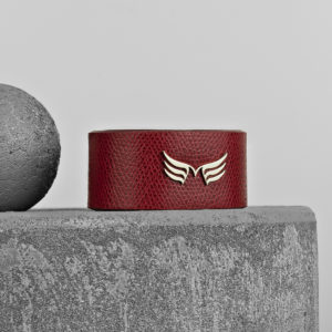 Maestoso Wings Bracelet Dark Red Leather