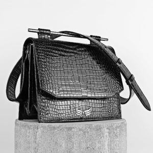 Maestsoso Black Croco Moneo Leather Bag