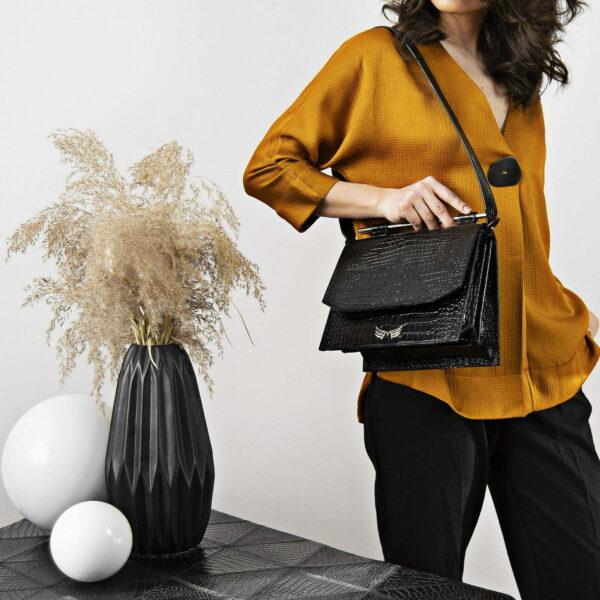 Maestsoso Black Croco Moneo Leather Bag