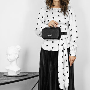 Borseta si geanta mini din piele naturala, culoarea neagra Maestoso Oscar Black Croco Bag