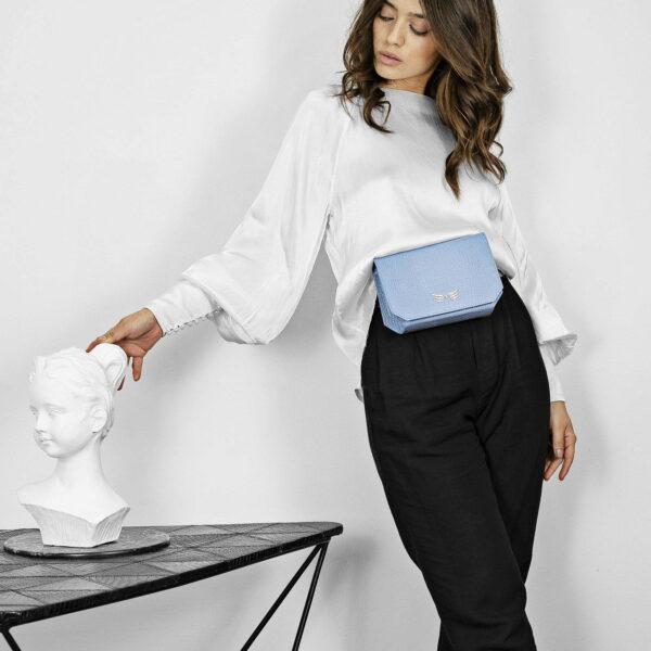 Borseta si geanta mini din piele naturala, culoarea bleu Maestoso Oscar Blue Sky Croco Bag