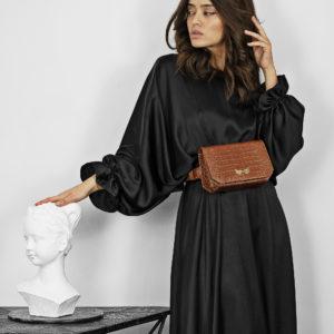 Borseta si geanta mini din piele naturala, culoarea maro Maestoso Oscar Brown Croco Bag