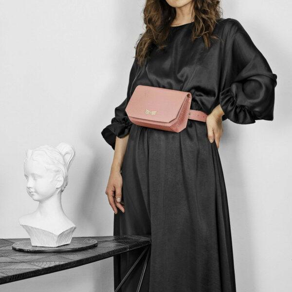 Borseta si geanta mini din piele naturala, culoarea roz pudrat Maestoso Oscar Dusty Pink Croco Bag