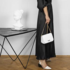 Borseta si geanta mini din piele naturala, culoarea alba Maestoso Oscar White Croco Bag