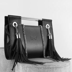 Maestoso Black Fringe Clutch