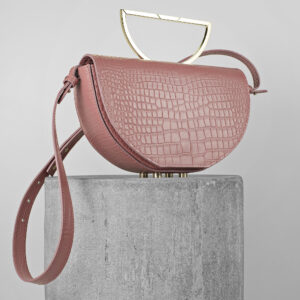Geanta din piele naturala roz pudrat croco Maestoso Dusty Pink Croco The Muse Bag