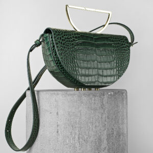 Geanta din piele naturala verde croco Maestoso Green Croco The Muse Bag