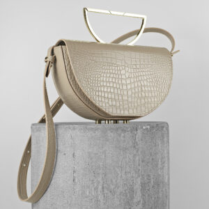Geanta din piele naturala nude croco Maestoso Nude Croco The Muse Bag