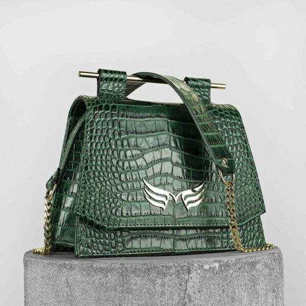 Geanta mini din piele naturala cu presaj croco, culoare verde, Maestoso Green Croco Mini Skylark Queen Bag