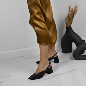 Maestoso Zaha Black Leather Slingback
