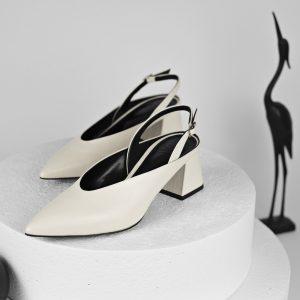 Maestoso Zaha Off-white Leather Slingback