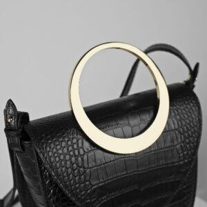 Maestoso Arc Black Croco Bag