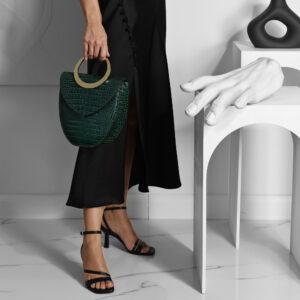 Maestoso Arc Green Croco Bag