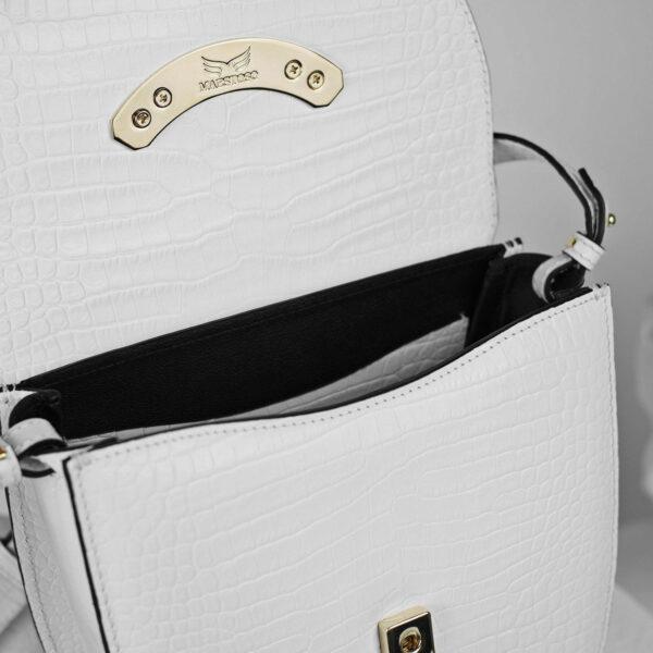 Maestoso Arc White Croco Bag