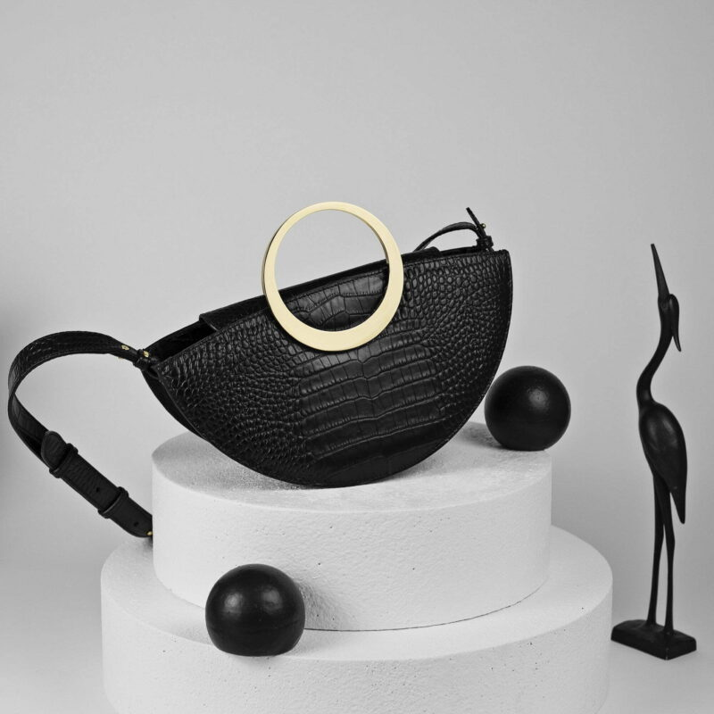 Maestoso Eclipse Black Croco Bag