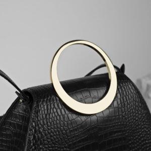 Maestoso Enso Black Croco Bag