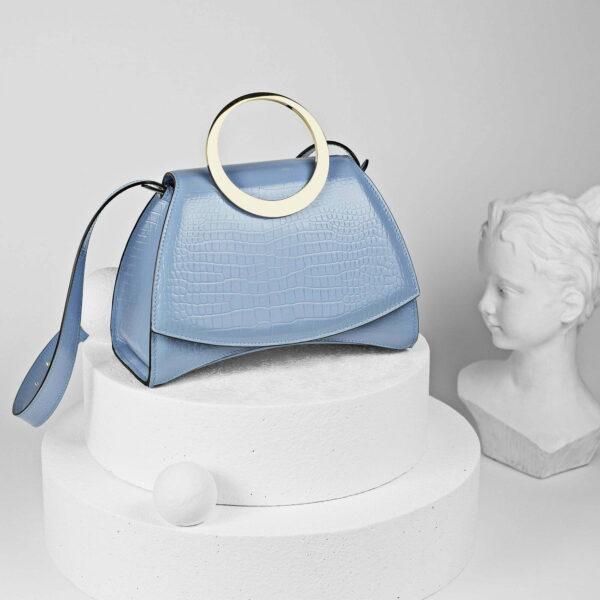 Maestoso Enso Blue Sky Croco Bag