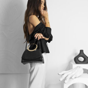 Maestoso Enso Mini Black Croco Bag