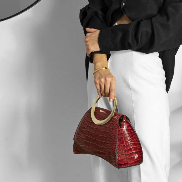 Maestoso Enso Mini Red Croco Bag