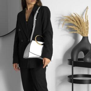 Maestoso Enso White Croco Bag